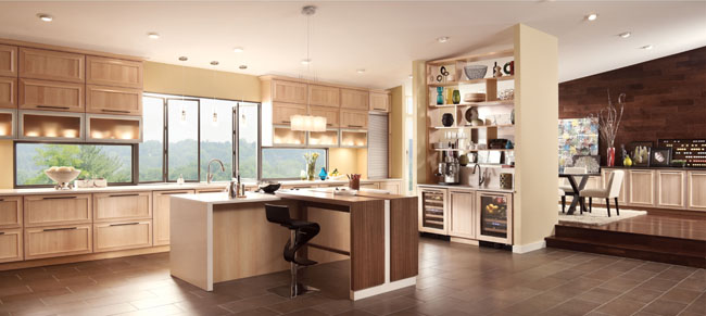 This sophisticated kitchen offers a warm modern design with clean lines, subtle curvature and soft metal accents.