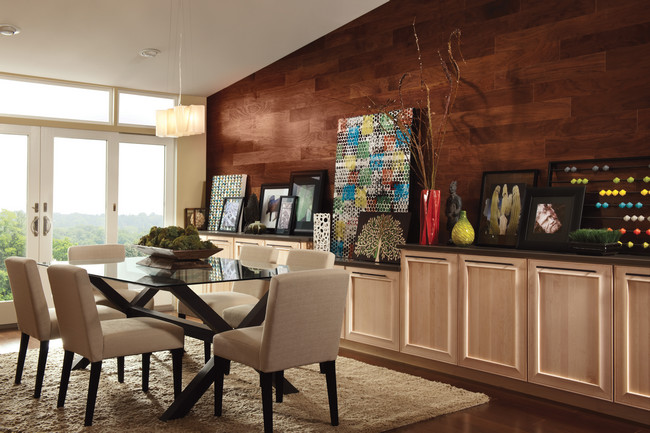 A low bank of built-in cabinets in this contemporary dining room stores dinnerware as easily as board games while creating a dynamic space for displaying artwork and collectibles.