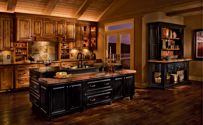 Rustic Birch Kitchen in Praline and Cherry in Vintage Onyx - KraftMaid