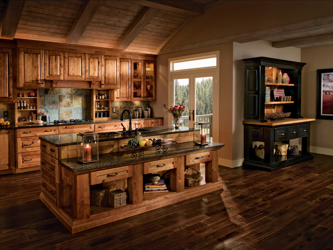 Kitchen in Rustic Birch in Praline and Cherry in Vintage Onyx ...