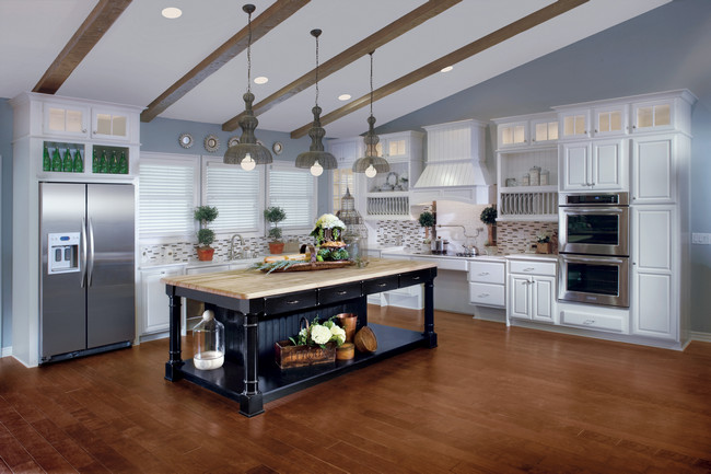 Maple Kitchen In Canvas With Cherry Island In Vintage Onyx KraftMaid - Kraftmaid kitchen island