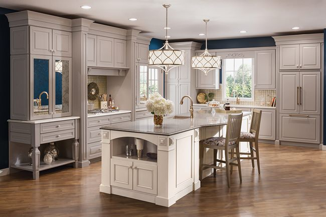Interior Kraftmaid White Cabinets maple kitchen in pebble grey and canvas kraftmaid x