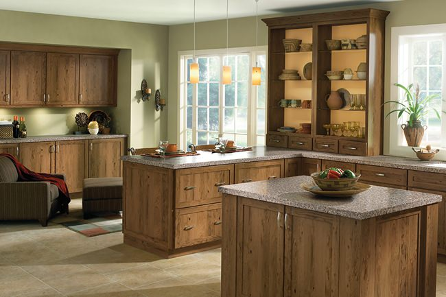 rustic cherry kitchen in husk - kraftmaid