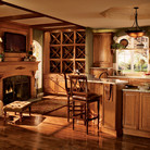 With backlit, stacked bottle storage in a warm, Burnished Ginger with Sable Glaze, this room is perfect for the true wine enthusiast.