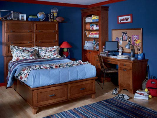In this boy's room, Lyndale Maple Chestnut cabinetry capitalizes on underused spaces like the headboard and frame to create plenty of storage. The bookcase and desk define a fun homework zone but are styled to transition into a mature work area as the occupant grows up.