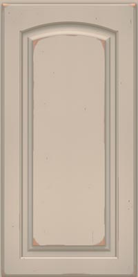 Arch Raised Panel - Solid (PWC1) Cherry in Vintage Chai w/Cinder Patina - Base