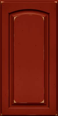 Arch Raised Panel - Solid (PWC) Cherry in Vintage Cardinal w/Onyx Patina - Wall