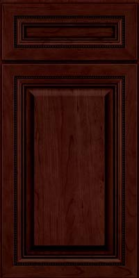 Square Raised Panel - Solid (ALC) Cherry in Cabernet w/Onyx Glaze - Base