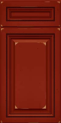 Square Raised Panel - Solid (ALC) Cherry in Vintage Cardinal w/Onyx Patina - Base