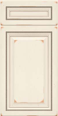 Square Raised Panel - Solid (ALC) Cherry in Vintage Dove White w/Cocoa Patina - Base