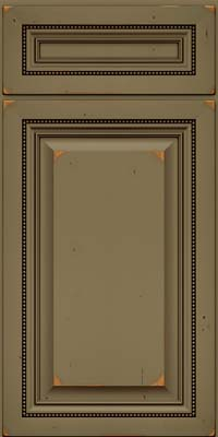 Square Raised Panel - Solid (ALC) Cherry in Vintage Sage w/Cocoa Patina - Base