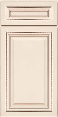 Square Raised Panel - Solid (ALM) Maple in Dove White w/Cocoa Glaze - Base