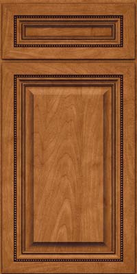 Square Raised Panel - Solid (ALM) Maple in Praline w/Onyx Glaze - Base