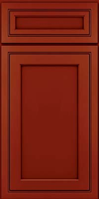 Square Recessed Panel - Veneer (ASMD) Maple in Cardinal w/Onyx Glaze - Base
