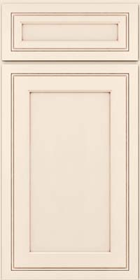 Square Recessed Panel - Veneer (ASMD) Maple in Dove White w/Cocoa Glaze - Base