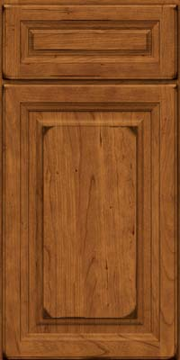 Square Raised Panel - Solid (BF) Cherry in Burnished Golden Lager - Base