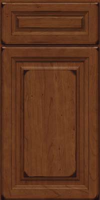 Square Raised Panel - Solid (BF) Cherry in Burnished Chocolate - Base