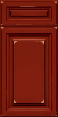 Square Raised Panel - Solid (BF) Cherry in Vintage Cardinal w/Onyx Patina - Base