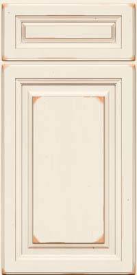 Square Raised Panel - Solid (BF) Cherry in Vintage Dove White w/Cocoa Patina - Base