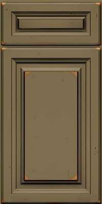 Square Raised Panel - Solid (BF) Cherry in Vintage Sage w/Onyx Patina - Base