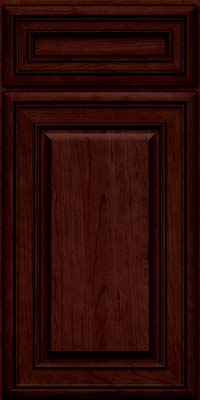 Square Raised Panel - Solid (BLC) Cherry in Cabernet w/Onyx Glaze - Base