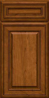 Square Raised Panel - Solid (BLC) Cherry in Golden Lager - Base