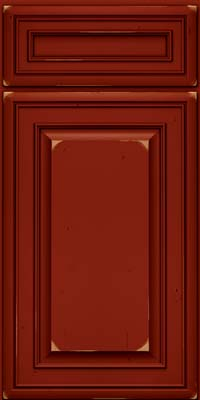 Square Raised Panel - Solid (BLC) Cherry in Vintage Cardinal w/Onyx Patina - Base