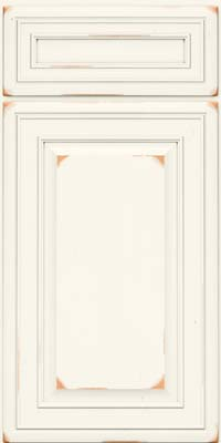 Square Raised Panel - Solid (BLC) Cherry in Vintage Dove White - Base