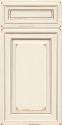 Square Raised Panel - Solid (BLC) Cherry in Vintage Dove White w/Cocoa Patina - Base