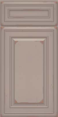 Square Raised Panel - Solid (BLC) Cherry in Vintage Pebble Grey w/ Cocoa Patina - Base