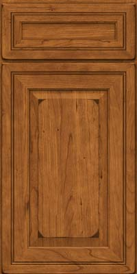 Square Raised Panel - Solid (CRC) Cherry in Burnished Golden Lager - Base