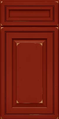 Square Raised Panel - Solid (CRC) Cherry in Vintage Cardinal - Base