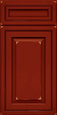 Square Raised Panel - Solid (CRC) Cherry in Vintage Cardinal w/Onyx Patina - Base