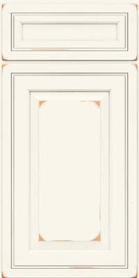 Square Raised Panel - Solid (CRC) Cherry in Vintage Dove White - Base