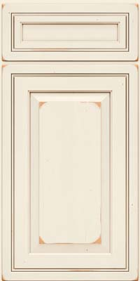 Square Raised Panel - Solid (CRC) Cherry in Vintage Dove White w/Cocoa Patina - Base