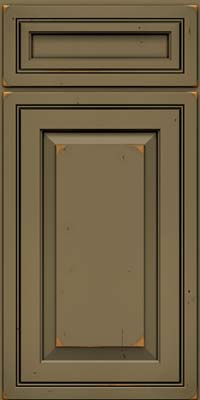 Square Raised Panel - Solid (CRC) Cherry in Vintage Sage w/Onyx Patina - Base