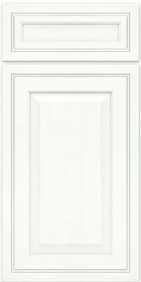 Square Raised Panel - Solid (CRM) Maple in Dove White w/ Cinder Glaze - Base
