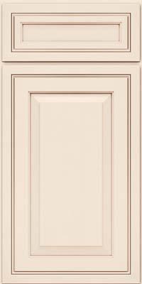 Square Raised Panel - Solid (CRM) Maple in Dove White w/Cocoa Glaze - Base
