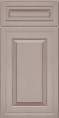 Square Raised Panel - Solid (CRM) Maple in Pebble Grey w/ Coconut Glaze - Base