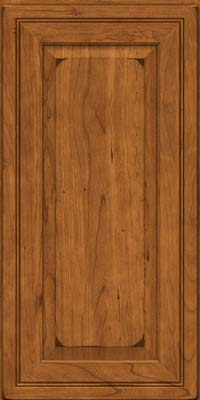 Square Raised Panel - Solid (CRC) Cherry in Burnished Golden Lager - Wall