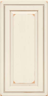 Square Raised Panel - Solid (CRC) Cherry in Vintage Dove White w/Cocoa Patina - Wall
