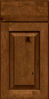 Square Raised Panel - Solid (DAB) Rustic Birch in Antique Chocolate w/Mocha Glaze - Base