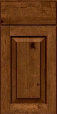 Square Raised Panel - Solid (DAB) Rustic Birch in Antique Chocolate w/Mocha Glaze - Base