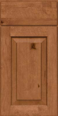Square Raised Panel - Solid (DAB) Rustic Birch in Ginger w/Sable Glaze - Base