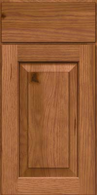 Square Raised Panel - Solid (DAH) Rustic Hickory in Ginger w/Sable Glaze - Base