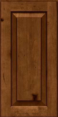 Square Raised Panel - Solid (DAB) Rustic Birch in Antique Chocolate w/Mocha Glaze - Wall