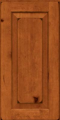 Square Raised Panel - Solid (DAB) Rustic Birch in Burnished Cinnamon - Wall