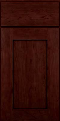 Square Recessed Panel - Solid (DRHC) Cherry in Cabernet w/Onyx Glaze - Base
