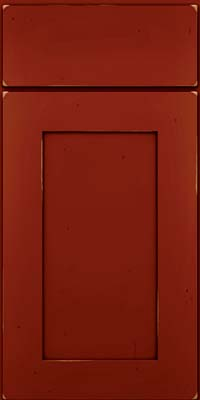 Square Recessed Panel - Solid (DRHC) Cherry in Vintage Cardinal w/Onyx Patina - Base