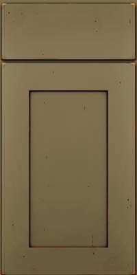 Square Recessed Panel - Solid (DRHC) Cherry in Vintage Sage w/Cocoa Patina - Base